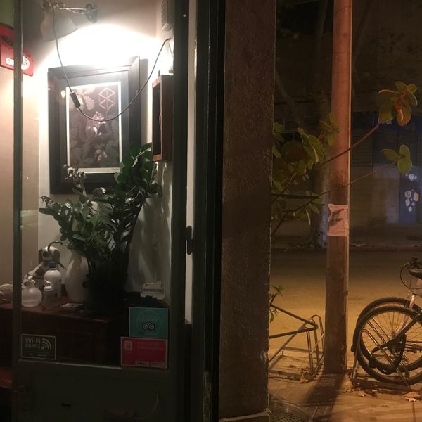 Interior and exterior, cafe and street, night, candy bar, palermo, montevideo