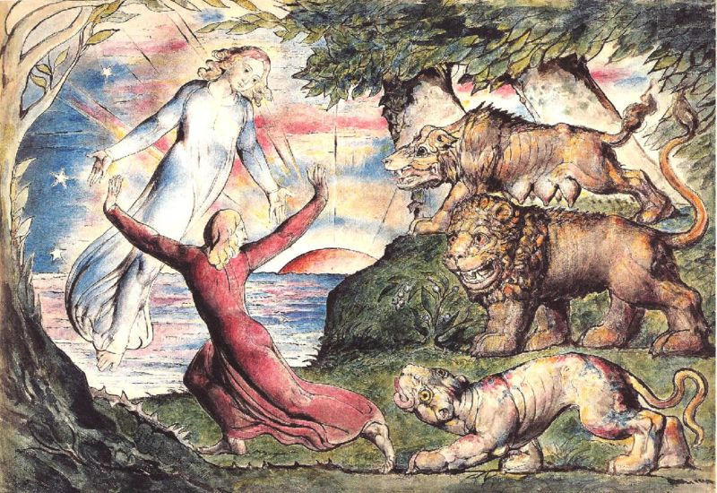 Dante rescued by Virgil from the three beasts