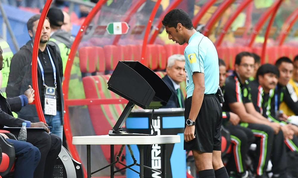 Ref looking dumbly and VAR